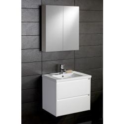 Galloway 600 armastone washbasin and two drawer vanity unit | Gloss white – Highlife Bathrooms