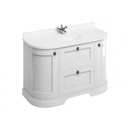 Burlington 134cm Matt White Curved Vanity Unit with Drawers, Doors and Minerva Worktop