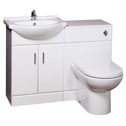 Kass bathroom suite with washbasin, basin unit, back to wall toilet, concealed cistern and pan | Cassellie