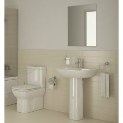 Vitra S20 Bathroom suite with close coupled dual flush toilet, washbasin and pedestal in gloss white.