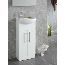 Turnberry 400 ceramic washbasin and double door vanity unit in gloss white - Highlife Bathrooms
