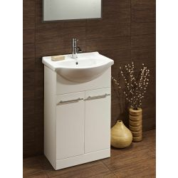 Turnberry 550 ceramic washbasin and two door bathroom unit in gloss white - Highlife Bathrooms