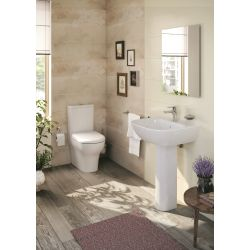 Zentrum Bathroom suite with close coupled dual flush toilet, washbasin and pedestal by Vitra in gloss white.