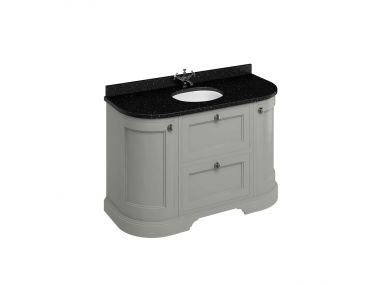 Burlington 134cm olive Curved Vanity Unit with Drawers, Doors and Minerva Worktop (colour options)
