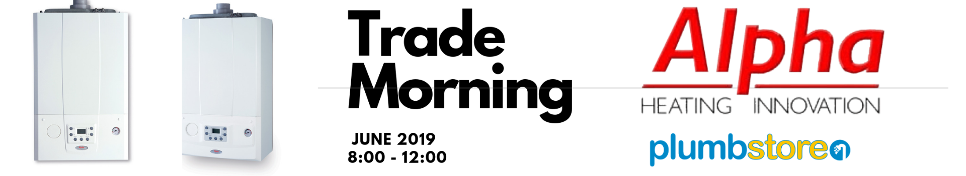 Alpha Heating trade morning banner featuring the etec and Evoke
